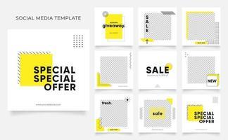 sociala medier mall banner blogg mode försäljning marknadsföring. helt redigerbar fyrkantig postram pussel organisk försäljningsaffisch. färsk gul element form vektor bakgrund