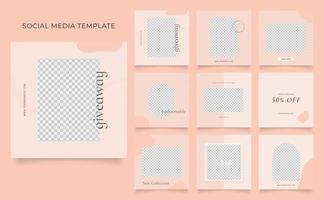 Social Media Vorlage Banner Blog Mode Verkauf Förderung. voll editierbares quadratisches Pfostenrahmen-Puzzle-Bio-Verkaufsplakat. brauner khaki beige Vektorhintergrund