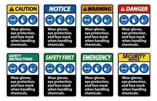 Tragen Sie Handschuhe, Augenschutz und Gesichtsmaskenzeichen auf weißem Hintergrund