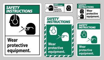 säkerhetsinstruktioner tecken bär skyddsutrustning med glasögon och glasögon grafik vektor