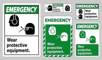 Notfallschild tragen Schutzausrüstung mit Schutzbrille und Brillengrafiken
