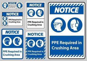 varningstecken ppe krävs i krossande område isolera på vit bakgrund vektor