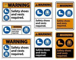 Warnschild Sicherheitsschuhe und Weste erforderlich mit ppe Symbolen auf weißem Hintergrund