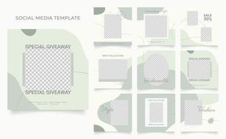 Social Media Vorlage Banner Blog Mode Verkauf Förderung. voll editierbares quadratisches Pfostenrahmen-Puzzle-Bio-Verkaufsplakat. grüner weißer Vektorhintergrund