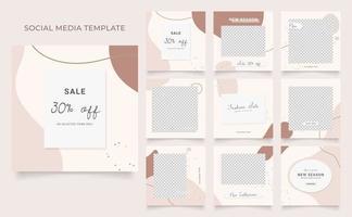 Social Media Vorlage Banner Blog Mode Verkauf Förderung. voll editierbares quadratisches Pfostenrahmen-Puzzle-Bio-Verkaufsplakat. brauner beiger Vektorhintergrund
