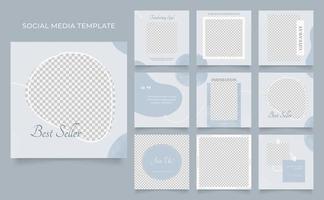 Social Media Vorlage Banner Blog Mode Verkauf Förderung. voll editierbares quadratisches Pfostenrahmen-Puzzle-Bio-Verkaufsplakat. blauer dunkelgrauer Vektorhintergrund