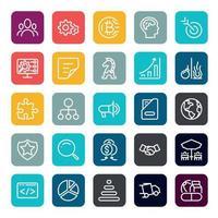 Business Marketing Online- oder Finanzinvestitionsvorteil oder Rendite-Icons mit Umriss auf quadratischer Farbform vektor