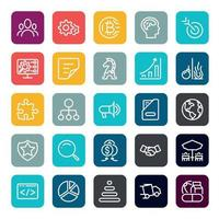 Business Marketing Online- oder Finanzinvestitionsvorteil oder Rendite-Icons mit Umriss auf quadratischer Farbform