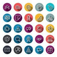 Business Marketing Online- oder Finanzinvestitionsvorteil oder Rendite-Icons mit Umriss auf Kreisfarbe Form und langem Schatten. Vektor-Infografik.