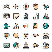 Business-Marketing-Design-Gliederungssymbole mit Farbfüllung. Vektor-Infografik. vektor
