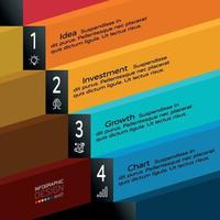 flaches Design 4-Stufen-Etikett für Präsentation und Geschäftsplanung. Vektorillustration.