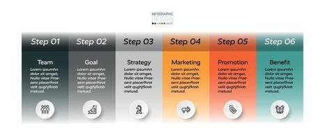 Unternehmenspräsentation, Marketing oder Schulung in einem rechteckigen Format umfasst 5 Arbeitsschritte, um die Arbeit zu erklären. Vektor-Infografik-Design.