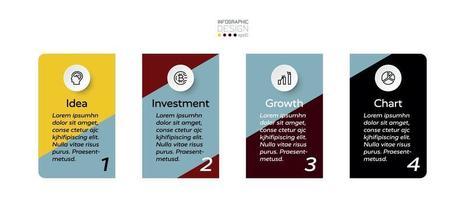 Die Präsentation der Arbeit durch Square Design erklärt, wie Geschäftsabläufe und Arbeitsprozesse ausgeführt werden. Infografik Design.