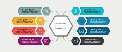 Sechseckige Diagramme mit Arbeitsergebnissen, Arbeitsabläufen und Planungen. Infografik Design.