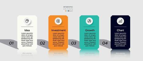 quadratische Ebene entworfen durch 4-Schritt-Vektor, der Arbeitsprozess zeigt. Vektor-Infografik-Design.