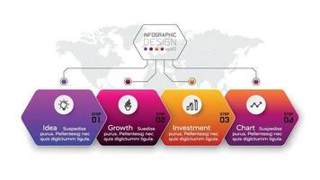 Das Organisations-Sechseck präsentiert Arbeitsprozesse in einem Workflow-Format und identifiziert Funktionen und Prozesse. Vektor-Infografik-Design.