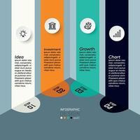 Quadratisches, flaches 4-Stufen-Design für die Planung oder Forschung der Investitionsplanung. Vektor-Infografik-Design.
