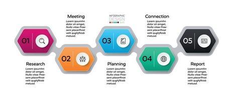 Sechseck 5 Schritte in Marketing, Bildung und Unternehmensplanung. Vektor-Infografik.