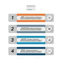 Präsentation des Investitionsprozesskonzepts oder Anzeige des Arbeitsberichts nach Vektor. Infografik Design.