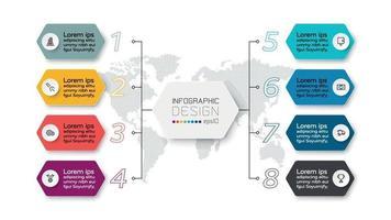 Präsentationen 8 Schritte im Sechseck-Design beschreiben die Arbeit durch die Organisation. Infografik Design.