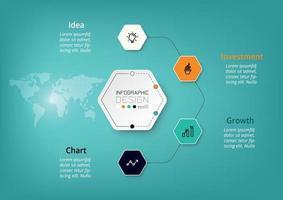 Sechseckige Diagramme helfen bei der Planung Ihrer Arbeit und beschreiben Ihre Funktionen, Abläufe, Geschäfte, Unternehmen, Forschung und Kommunikation. Vektor-Infografik.