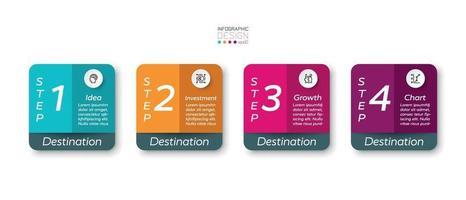 Farbquadrat Box vier Schritte Präsentationen Planung für Marketing oder verschiedene Investitionen. Vektor-Infografik-Design.