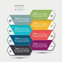 Der Arbeitsprozess wird in einem sechseckigen Design analysiert. Vektor-Infografik.