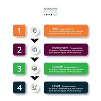 Betriebsprozess wie Unternehmensinvestition, Marketing, Forschung, 4 Schritte nach Etikettenvektor. Infografik Design, vektor