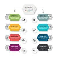 Sechseck Design Organisation, 8 Arbeitsschritte, erklären den Arbeitsplan, Treffen und präsentieren. Vektor-Infografik.