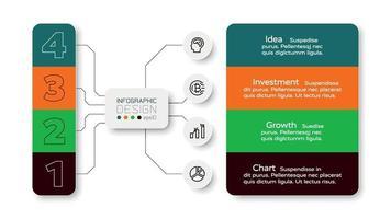 Die 4 Arbeitsschritte in Diagrammform werden zur Zuordnung von Arbeitsaufgaben und zur Planung verwendet. Infografik Design.