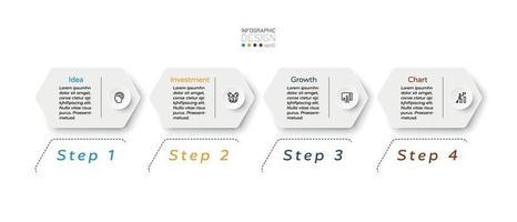modernes sechseckiges Design 4 Schritte, um Ergebnisse anzuzeigen und Arbeit zu platzieren oder Ergebnisse für Unternehmen, Marketing oder Organisation zu melden. Vektor-Infografik.