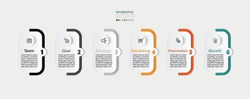 Quadrate und farbige Balken, 6 Schritte zum Präsentieren oder Planen eines Workflows in einem Unternehmen oder einer anderen Arbeit. Infografik Design.