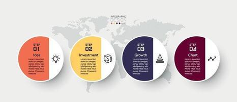 Die 4 Schritte des Designkreises sind für Präsentationen gedacht, in denen die Funktionen und Prozesse erläutert werden. Infografik Illustration.