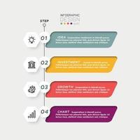 Sechseckiges Design, kombiniert mit Etiketten, 4 Arbeitsschritte, verwendet für Bildung, Geschäft, Unternehmen. Vektor-Infografik.