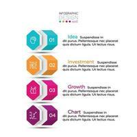 4 Workflows durch sechseckiges Layout, die für Geschäftsplanung, Unternehmen oder Werbung verwendet werden. Vektorillustration.