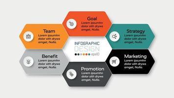 Die Planung einer Geschäftspräsentation, des Marketings und der Schulung wird durch ein Sechseckdesign veranschaulicht, das den Arbeitsprozess erklärt. Vektorillustration.