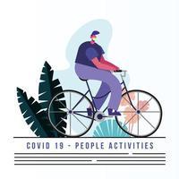 Mann, der die medizinische Maske trägt, die Fahrradfahnenschablone reitet