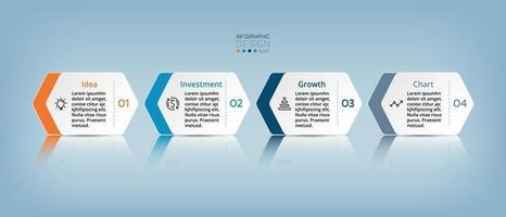 Die vier Schritte des Sechsecks können auf Unternehmen, Investitionen, Marketing, Bildung, Präsentationen und Planung angewendet werden. Vektor-Infografik