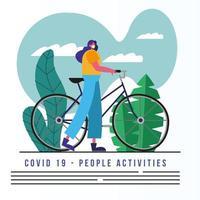Frau, die medizinische Maske trägt, die Fahrradfahnenschablone reitet