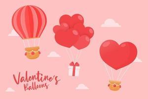olika ballonger som flyter i himlen bundna med presentaskar och röda hjärtan på alla hjärtans dag vektor