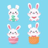 Karikatur niedliches kleines Kaninchen, das Osterei umarmt lokalisiert auf Hintergrund vektor