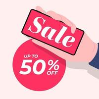 Hand hält Telefon mit Verkaufsförderung Rabatt 50 Prozent, Verkauf Banner Vorlage. vektor