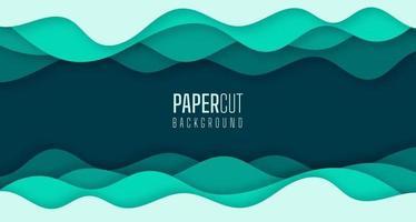 enkel 3d abstrakt bakgrund av grönt havsvatten vinkar modernt pappersskuren grafisk design vektor