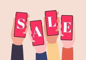 Hände halten Smartphones und zeigen Verkauf. Online-Shopping mit Handys. vektor