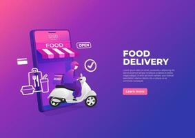 matleveransservice med skoter på mobiltelefonbannern. online beställa mat på en smartphone. vektor