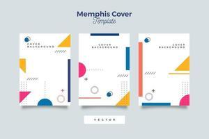 en uppsättning affisch, omslag och flygblad med geometriska stilar