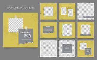 Social Media Vorlage Banner Blog Mode Verkauf Förderung. voll editierbares quadratisches Pfostenrahmen-Puzzle-Bio-Verkaufsplakat. gelber grauer Vektormarmorhintergrund