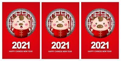 Frohes chinesisches Neujahr 2021 Grußkarten, Jahr des Ochsen. vektor