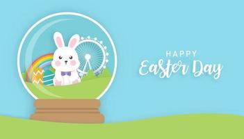 Ostertag Hintergrund und Banner mit niedlichen Kaninchen vektor