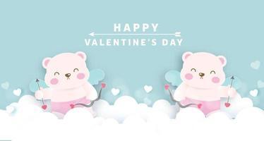Alla hjärtans gratulationskort med söta amorbjörnar.
